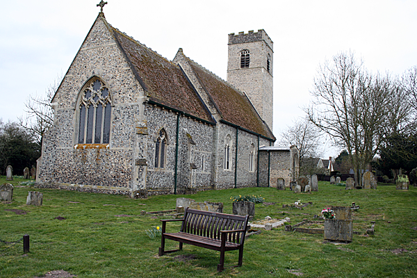 churchyard with bench